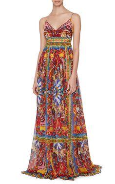 Silk Printed Empire Waisted Maxi Gown by Dolce & Gabbana   Moda Operandi