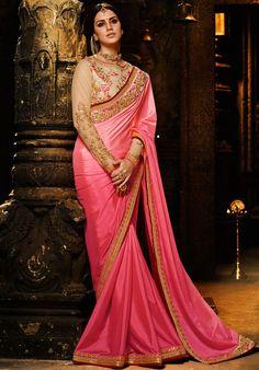 Fabulous Cherry Pink Saree