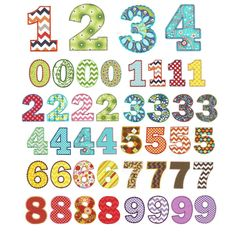 Chunky fat numbers machine applique embroidery designs - Designs by JuJu