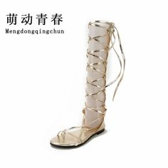 Women Sandals Fashion Brand Gladiator Sandals Sexy Cutout Knee High Sandalias Flip Flops Summer Casual Shoes Woman #Affiliate
