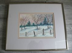 Winter Scene Oil Paining Country Field Evergreens Christmas Scene Artist Signed  #Realism
