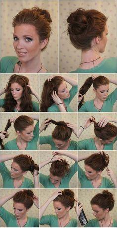 diy hairstyles for short hair black women - Hairstyle Lazy Girl Curly Hair Styles, Short Hair Styles Easy, Short Hair Updo, Medium Hair Styles, Lazy Girl Hairstyles, Step By Step Hairstyles, Bun Hairstyles, Chignon Bouffant, Fringe Haircut