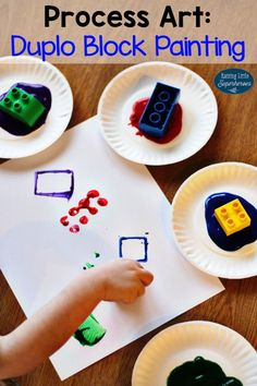 How To Create A Duplo Block Painting - easy to prepare process art idea for kids! Más