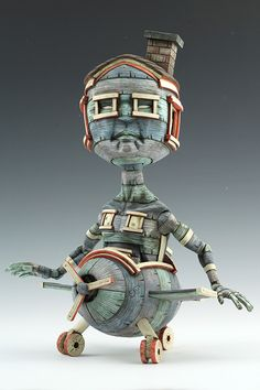 """Calvin Ma  Anywhere But Here                                                                                      Stoneware, glaze, stain 13.5"""" x 10"""" x 7"""" 2013 http://www.calvinmasculpts.com"""