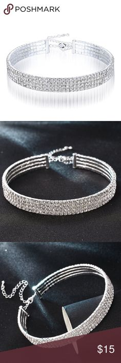 Silver rhinestone choker! Super glamorous and well made rhinestone silver choker! Adjustable and comfortable, worn once at prom. Leave any questions below :) Jewelry Necklaces