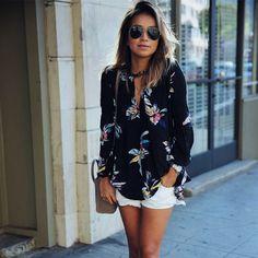 13.24$  Watch now - Chiffon Blouses New 2017 Fashion Summer Women Printing Elegant V-neck Shirt Tops Plus Size Blusas Shirts Long Sleeve Blouse   #magazine