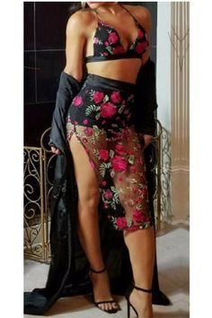 34752028ba93e Buy  First Bloom  Floral Embroidered Mesh Skirt   Bralette Set at Style  Loft for only   24.99