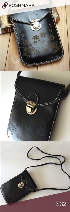 Mini Cross-Body Black Phone Wallet Purse/New Nice and functional wallet purse for your phone and credit cards/ID, in elegant black faux leather looks beautiful .....size is 5x7 inches Boutique Bags Crossbody Bags