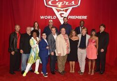 "(L-R top) Co-Producer Andrea Warren, actors Larry the Cable Guy, Armie Hammer and Isiah Whitlock Jr. (L-R bottom) Producer Kevin Reher, Actors John Ratzenberger, Jenifer Lewis, Lea DeLaria, Director Brian Fee, executive producer John Lasseter, actos Cristela Alonzo, Owen Wilson, Kerry Washington and Nathan Fillion at the World Premiere of Disney/Pixar's ""Cars 3"" at the Anaheim Convention Center on June 10, 2017 in Anaheim, California."