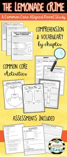 This 126 page book study for The Lemonade Crime, by Jacqueline Davies, contains comprehension by chapter, vocabulary challenges, creative Common Core-aligned reading response activities, assessments, and much more!  You will find this guide to be teacher and student friendly. It contains a wide variety of question types, along with open-ended graphic organizers and unique activities, all carefully crafted for this particular story.