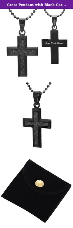 """Cross Pendant with Black Carbon Fiber engraved Amor Vincit Omnia with 22"""" chain & Gift Pouch Willis Judd. From the Willis Judd Carbon collection is this black stainless steel pendant that features a carbon fiber inlay. Engraved on the back is the phrase Amor Vincit Omnia, which means Love Conquers All. As seen in the picture, the black stainless steel really complements the carbon fiber and creates an effect that will definitely stand out in a crowd and make ones outfit complete. What's…"""