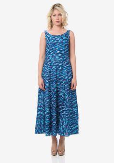 Midnight Blue Printed Maxi Dress