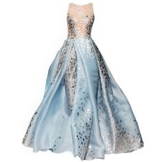 satinee.polyvore.com - Georges Chakra 2015 ❤ liked on Polyvore featuring dresses, gowns, long dress, vestidos, blue evening gown, blue color dress, blue ball gown, blue evening dresses and long dresses