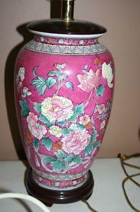 Ginger Jar Table Lamp Magenta Pink Fl 3 Way Switch Ceramic W Wood Base Used