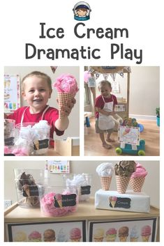 Ice cream shop theme dramatic play center for preschool and kindergarten. There are signs, labels, menu, order sheets and other printables as well as tips and ideas on how to set up. Ideal for the classroom and ideas to make easy, cheap props. Dramatic Play Themes, Dramatic Play Area, Dramatic Play Centers, Preschool Dramatic Play, Play Ice Cream, Ice Cream Theme, Ice Cream Parlour Role Play, Ice Play, Prop Box