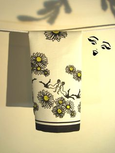 Saucy & Cheerful Daisy Chain Tea Towel by NotYourGrandmothers, $22.00