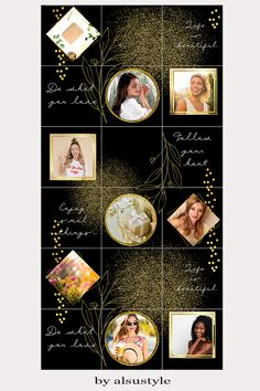 Beautiful Canva template for 12 Instagram posts with black background and gold elements. This Canva Instagram Template is perfect for bloggers, influencers and other. Template is fully editable, you can match colors, fonts, photos, elements, texts etc. to your branding or as you prefer. WHAT'S INCLUDED: One template for 12 Instagram posts combined in a puzzle feed (3240 px x 4320 px). PDF with instructions and a link to the Canva Instagram Puzzle Feed Template. #puzzlefeed #canvatemplate