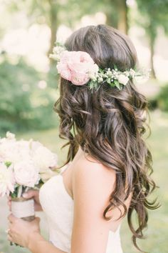 Flowers In Hair For Wedding Boho Floral Crowns 64 Trendy Ideas Wedding Hair Flowers, Wedding Hair And Makeup, Flowers In Hair, Bridal Hair, Hair Wedding, Wedding Dress, Fresh Flowers, Wedding Hairstyles For Long Hair, Loose Hairstyles