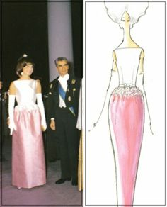 Jackie Kennedy attending a White House dinner held in honor of Mohammad Reza Pahlavi, the Shah of Iran, and his wife Shabanou Farah Diba, 1962. Jackie wore a pink and white silk gown with a bateau neckline. The fitted white bodice featured a bow with and lace effect studded with brilliants. Design and illustration by Oleg Cassini from 'A Thousand Days of Magic'