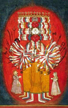 Another depiction of Krishna displaying his Universal Form, or Vishvarupa, to Arjuna as described in the Bhagavad Gita. Opaque watercolor and gold on paper, ca. Bhagavad Gita, Gouache, India Art, Religious Icons, Religious Art, Hindu Deities, Indian Paintings, Mughal Paintings, Funny Tattoos