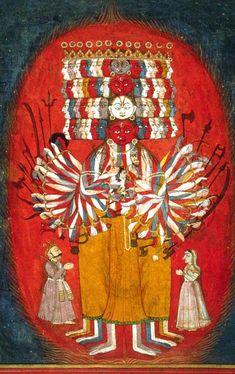 Painting depicting a multi-armed, multi-headed being– Vishvarupa of Krishna.Krishna displays his Vishvarupa (Universal Form) to Arjuna on the battlefield of Kurukshetra (chapter 11).