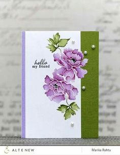 Altenew: Lacy Scrolls, stamp w/ distress, add shading (zigs or other. Altenew Cards, Friendship Cards, Motif Floral, Penny Black, Card Making Inspiration, Watercolor Cards, Flower Watercolor, Flower Cards, Creative Cards