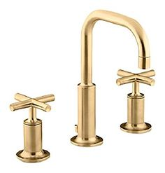 Kohler Purist Widespread Bathroom Faucet With Ultra Glide Valve Techno Vibrant Moderne Brushed Gold Lavatory Double Handle Crossbars For Tub And