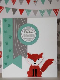 Carte bébé, stampin'up, foxy friends, fannystamp31