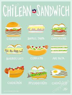 tbh this is one of reasons why i need to visit chile lmao Chilean Recipes, Chilean Food, American Food, Food Illustrations, Food Truck, Food And Drink, Yummy Food, Favorite Recipes, Healthy Recipes