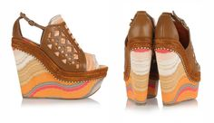 missoni leather and crochet-knit platforms