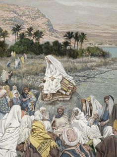 Jesus Preaching by the Seashore by James Tissot {c.1886-96} ~ gouache on paper