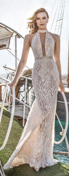 lian rokman 2017 bridal sleeveless halter neck full embellishment elegant sexy sheath wedding dress keyhole back short train (sapphire) mv -- Lian Rokman 2017 Wedding Dresses