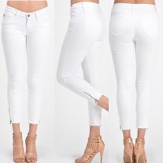 Womens White Skinny Jeans with side zipper #DMClothing #SlimSkinny