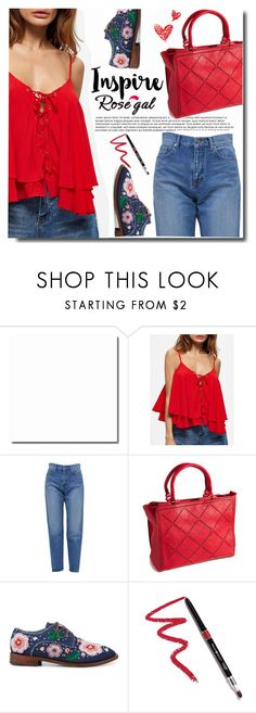 """Rosegal Crop top"" by ucetmal-1 ❤ liked on Polyvore featuring Yves Saint Laurent, Anouki and Dollup Beauty"