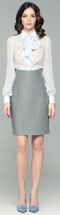 Dressed Formal For Work In White Bow Blouse And Pencil Skirt