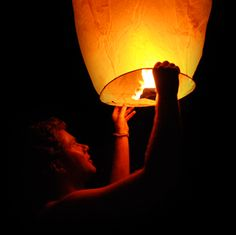 Sky lanterns (or spirit balloons) sent aloft at the wedding