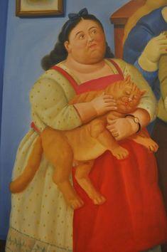 Niña con gato Girl with cat Fernando Botero