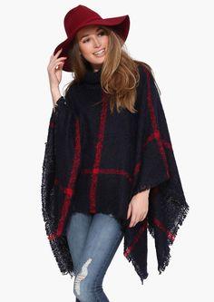 Plaid Poncho Sweater @scrapwedo