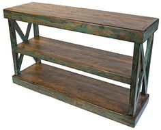 This painted wood Mexican rustic sofa table with crossbar sides and 3 shelves is a perfect fit for your Southwest or Ranch style home. Built to last, this hand crafted sofa table is a testament to the skill of the Mexican artisans that created it. Cowhide Furniture, Distressed Furniture, Industrial Furniture, Rustic Furniture, Furniture Storage, Rustic Sofa Tables, Wood Sofa Table, Reclaimed Barn Wood, Rustic Wood