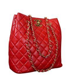 Vintage Chanel Red Lambskin Jumbo Tote Bag -