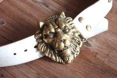 Vintage 1960s Leather Belt with Large Brass Lions Head Buckle // 60s 70s While Leather Studded Belt