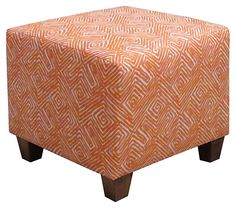 Berit Square Ottoman, Orange/White | All About Pattern | One Kings Lane