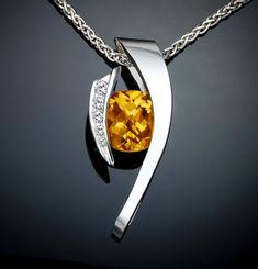citrine necklace - statement necklace - silver pendant - November birthstone - white sapphires - yellow - gemstone jewelry - modern - 3374