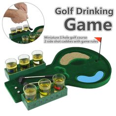 Desktop Mini Golf Drinking Club Bar Game + Glass Cups Shot Putter Miniature Kit