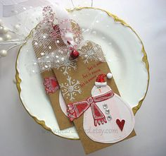 Pink and Red Snowman LUXE Gift Tags Set of TWO Gift by pearliebird