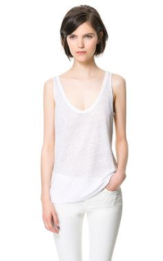 Image 1 of PRINTED LINEN TANK TOP from Zara