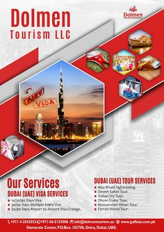 Dolmen Tourism LLC is committed to provide an outstanding, cost effective, consistent and innovation inbound tourism services in Dubai & Other Emirates in a true proficient style. Graphic Design Flyer, Web Design, Flyer Design, Layout Design, Dubai City, Dubai Uae, Photography Name Logo, Travel Brochure Design, New Foto