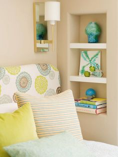 Small-Space Storage - When there's no space for a nightstand, substitute a recessed wall niche for bedside storage. Carve out space between wall studs, drywall the niche, and install shelves for books and other bedside necessities.