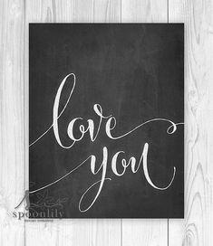 LOVE Love You Typography Art Print Chalkboard Art Love by SpoonLily
