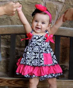 Hot Pink Damask Swing Tunic & Diaper Cover - Infant | Daily deals for moms, babies and kids